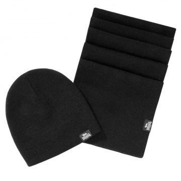 Lonsdale ensemble écharpe et bonnet Leafield   noir