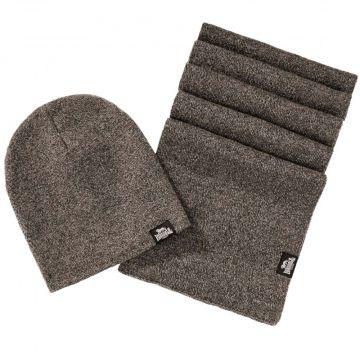 Lonsdale ensemble écharpe et bonnet Leafield   brun chiné