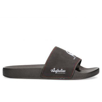 Australian pantoufles   logo blanc X noir