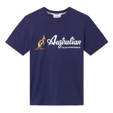 Australian sportswear T-shirt avec logo de la marque jaune et blanc | bleu cosmo