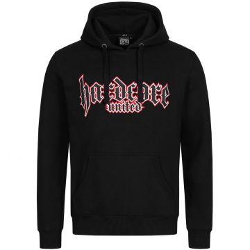 Hardcore United pull à capuche logo goth brodé contour rouge | noir