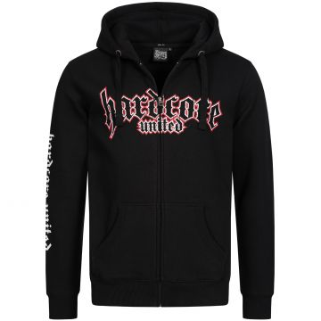 Hardcore United capuche zippée logo goth imprimé contour rouge | noir