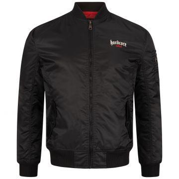 Hardcore United bomber logo gothique brodé contour rouge | noir