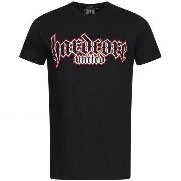 Hardcore United T-shirt goth logo imprimé contour rouge | noir