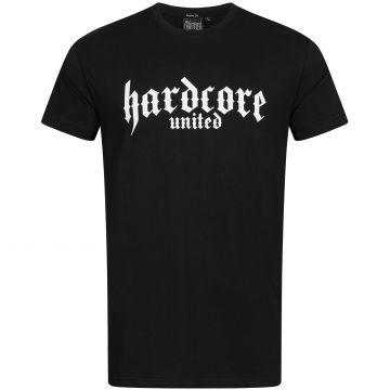 Hardcore United T-shirt imprimé logo gothique blanc | noir