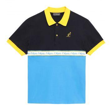 Australian polo avec bande bleu   noir - capri bleu