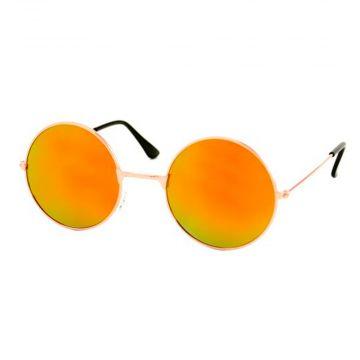 Loud and Clear lunettes miroir verre rond métal doré | rouge - orange