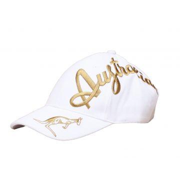Australian casquette broderie croisée dorée exclusive | blanc