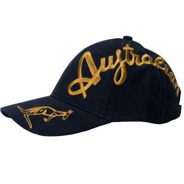Australian casquette broderie croisée dorée exclusive | noir