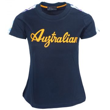 Australian dames t-shirt logo orange avec bande florales | navy 200