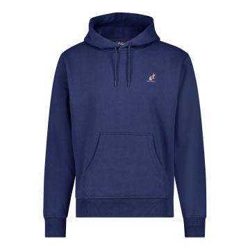 Australian hooded sweater met verticale gouden bies 2.0 op de rug   cosmo blauw