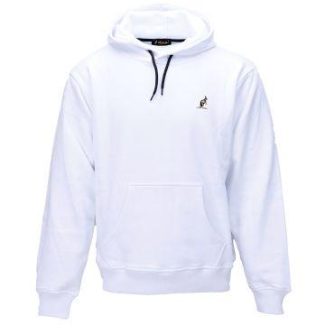 Australian hooded sweater met verticale zilveren bies 2.0 op de rug   wit