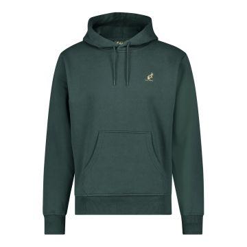 Australian hooded sweater met verticale zwarte bies 2.0 op de rug   woods green