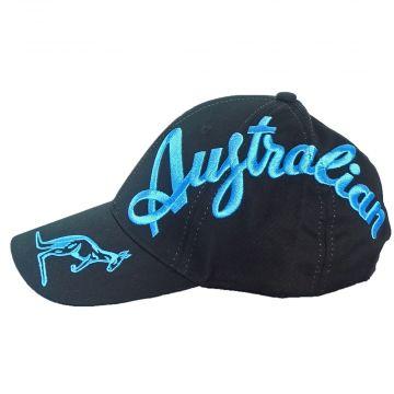 Australian casquette crossover logo EXCLUSIF | noir X texte bleu schtroumpf