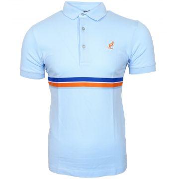 Australian polo avec passepoil multicolore   glace bleue