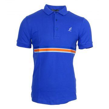 Australian polo avec passepoil multicolore autour de la taille   bleu royal