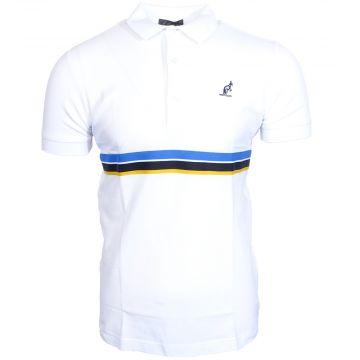 Australian polo avec passepoil multicolore autour de la taille   blanc