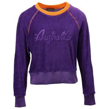Australian pull femme velours à logo pailleté | violet
