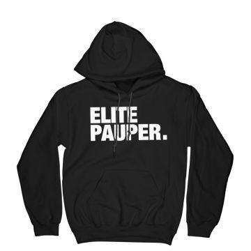 ELITE PAUPER. pull à capuche avec poche | logo X noir