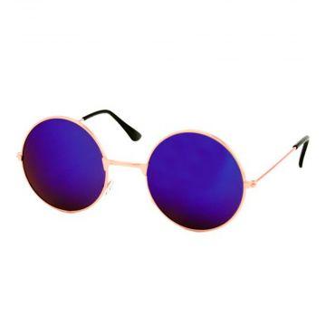 Loud and Clear lunettes miroir verre rond métal doré | bleu - violet