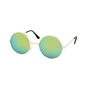 Festival/Gabber lunettes miroir verres rond métal or | vert jaunâtre