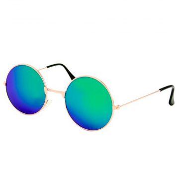 Festival / Gabber lunettes miroir verre rond métal doré | vert - bleu