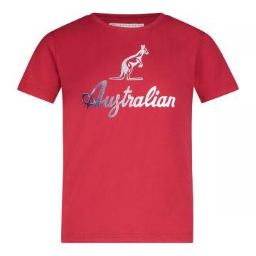 Australian kids T-shirt reflecterend logo   rood