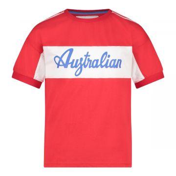 Australian kids sports T-shirt met schouder bies   rood