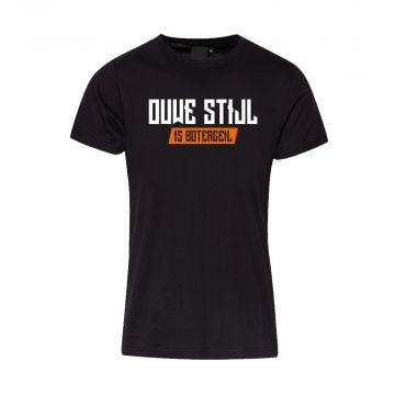 Ouwe Stijl is Botergeil T-shirt oranje logo print op rug