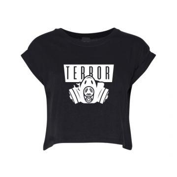 Hard-Wear Croptop Femmes Terror Gas Mask   noir