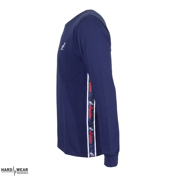 Australian t-shirt à manches longues avec bande orange | bleu cosmo