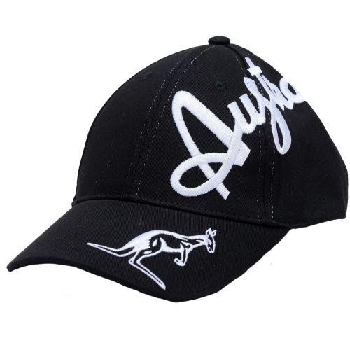 Australian casquette broderie croisée en argent exclusive   noir